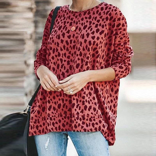 Casual Leopard Printed Colour Long Sleeve T-shirt