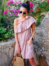 Striped Falbala One-shoulder Mini Dress