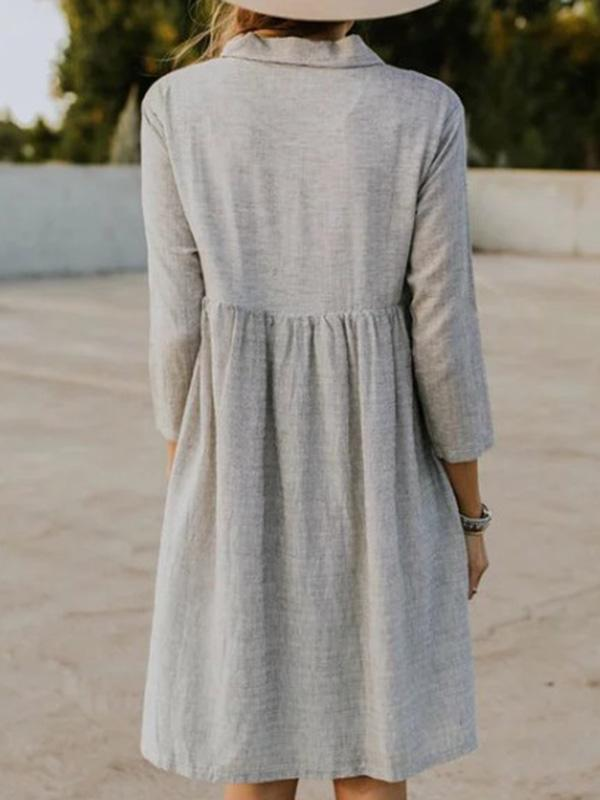Solid Lapel Seven Sleeves Midi Dress