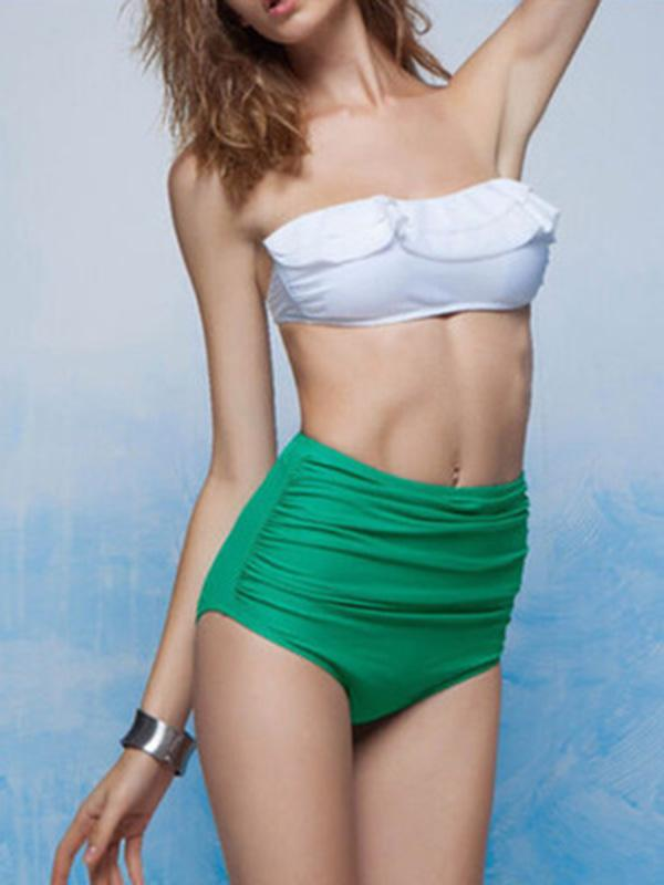Contrast Color Ruffled Collar Top Bikini