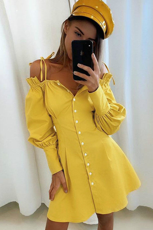 Puff Sleeve Spaghetti Strap V Neck Short Mini Dress