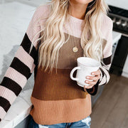 Casual Women Stitched Colouring Knit Loose Sweater