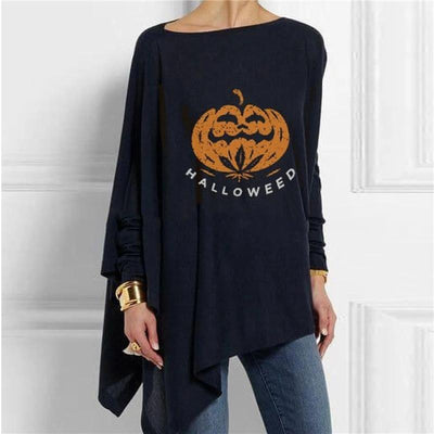 Loose printed long-sleeved T-shirt