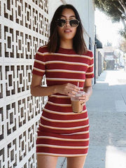 Short Sleeve Striped Mini Dress