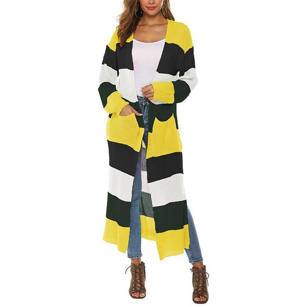 causal slit colouring patch pockets long sleeves long cardigan