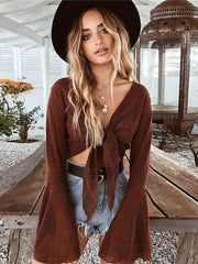 Fashion Flared Sleeves Bonage Blouses&shirts Tops