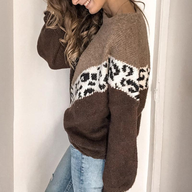 Casual Printed Colour Long Sleeve Splicing Sweater