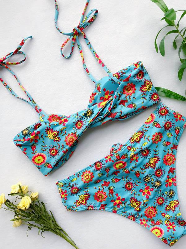 Twist Knotted Strapped Bikini Swimsuit