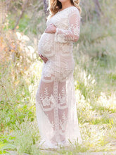 Maternity Hollow Lace Long Sleeve Maxi Dress
