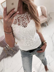 Lace Flower Hollow Split-joint Vest