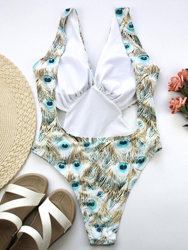 Printed Crop Backless One Piece Swimsuit