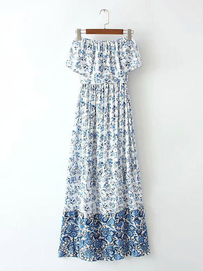 Summer Strapless Printed Maxi Dresses