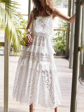 Sexy High Waist Hollow Lace Slip Cake Midi Dress