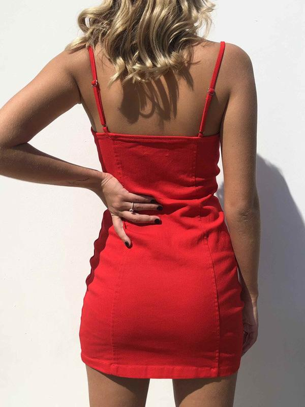 Sexy Circle Zipper Spaghetti-neck Skirt Mini Dresses
