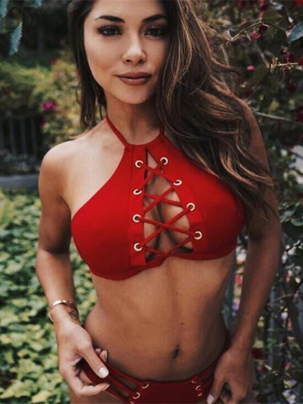 Red Plain Lace-up Bikinis Swimwear