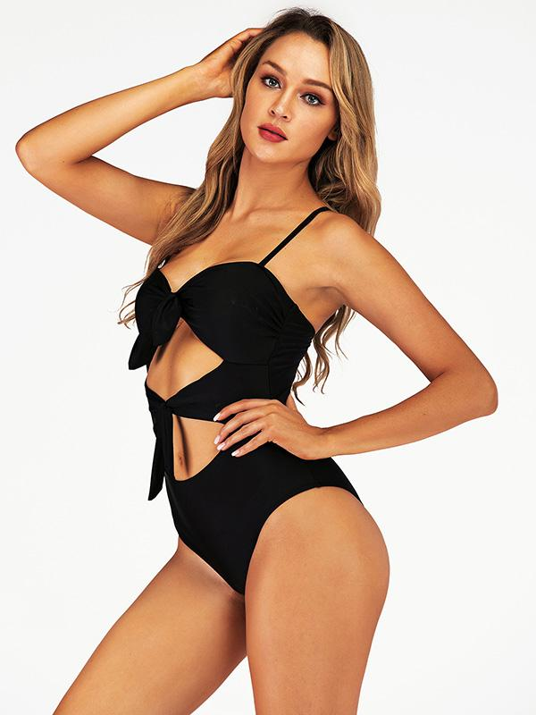 Hollow Ties Front One Piece Swimsuit