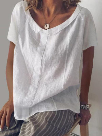Casual Lapel Collar Short Sleeves T-shirt