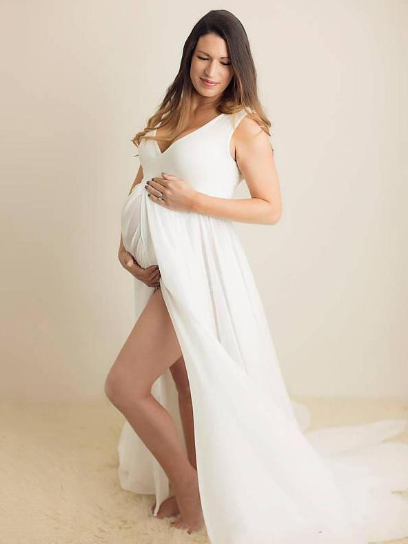 Maternity V-neck Chiffon Maxi Dress