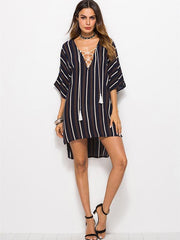 Loose Plus Size Striped Fashion Lace-up Blouse