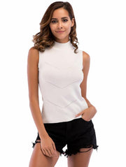 Women's High-necked Knitted Sleeveless Shirt Rib Vest