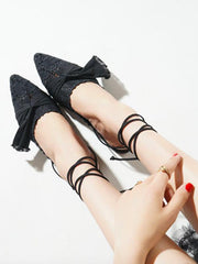 Bowknot Hollow Cross Strap Pointed Shoes