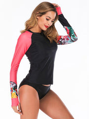 Zipper Floral Printed Two Pieces Wetsuit