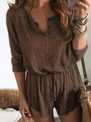 Solid Long Sleeves Bandage Romper