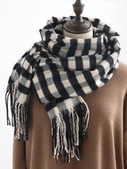Fashion Tassels Grid Cape Scarf