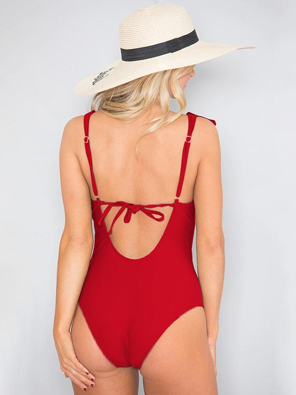 Plunge Falbala Plain One Piece Swimsuit
