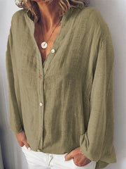 Sweet Solid Buttoned Long Sleeve Shirts & Tops