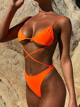 Triangle Top Neon Lace Up Bikini Set