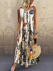 Printed Round-neck Sleeveless Maxi Dress
