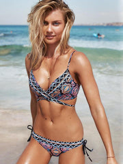 National Lace Up Bikini Set