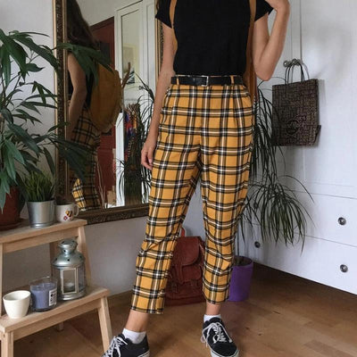 Fashion High-Waisted Plaid Casual Pants