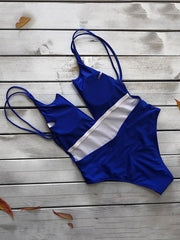 Plain V Wired Backless One-piece Swimsuit