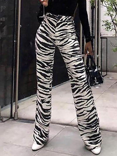 Zebra Stripes High Waist Casual Pants