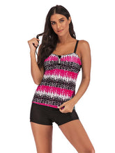 Ruched Contrast Tankini Swimsuit