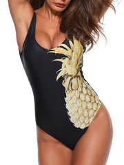 Pineapple Printed V-neck One-piece Swimwear