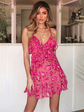 Bohemia Ruffled Spaghetti-neck Mini Dress