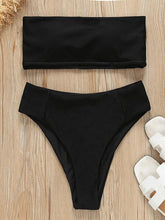 Strapless Ribbed High Waisted Bikini Swimsuit