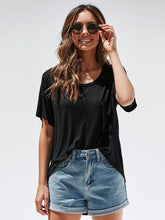 Round Neck Short Sleeve with Pocket Blouses&Shirts Tops