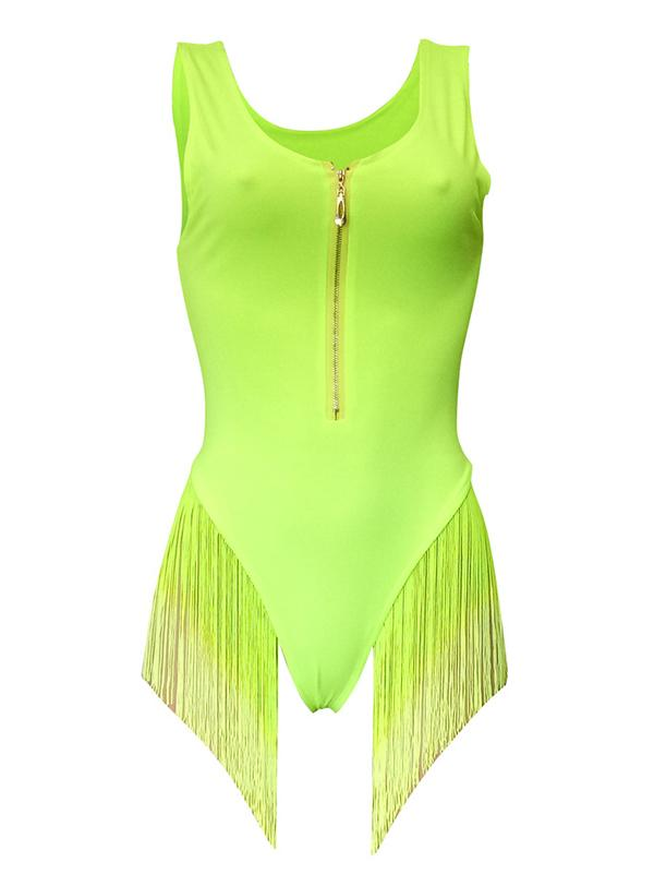 Gradient Tassels Zipper One Piece Swimsuit