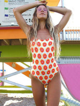 Orange Printed Spaghetti Strap One-piece Swimsuit