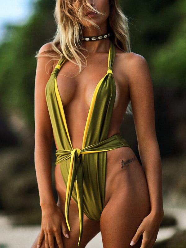 Thong Contrast Color One-piece Swimsuit