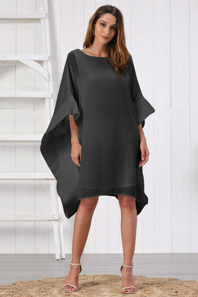 Chiffon O-Neck Batwing Sleeve Plus Size Casual Mini Dress