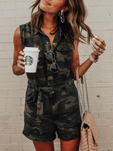 Camouflage Printed Pockets Belted Rompers