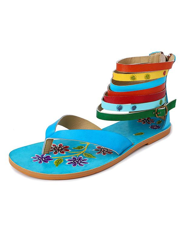 Bohemian Cow Leather Color Stripe Roman Sandals