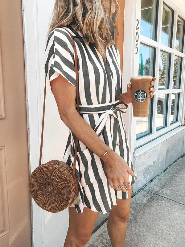 Bohemia Short Sleeves Striped Mini  Dress
