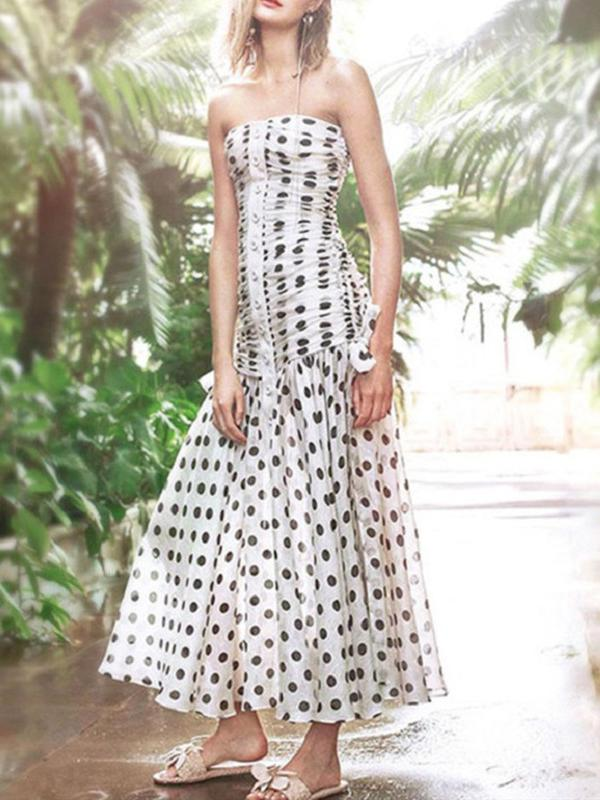 Sexy Polka Dot  Strapless Maxi Dress