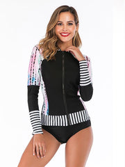 Contrast Trim Zipper Two Pieces Wetsuit